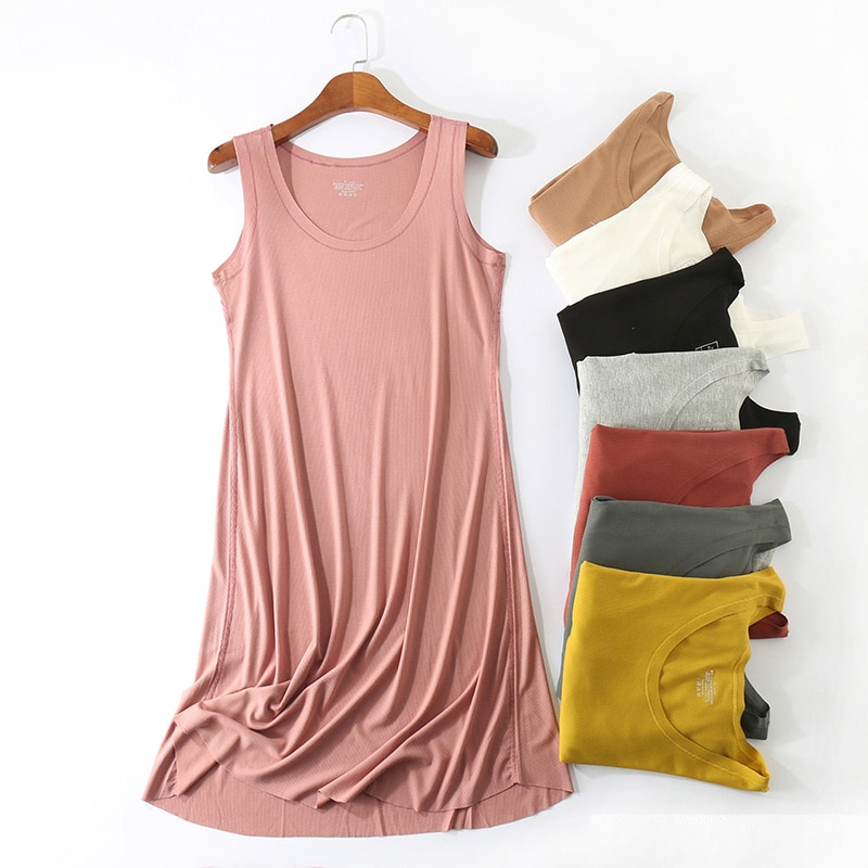 Women Summer Casual Dress 2020 Plus Size O-neck Sleeveless Knee-Length Dress 8 Colors Stretchable Home Gown Frocks for Women fashion summer tencel deep v neck black dress for pregnant women sleeveless knee length maternity dress loose euro size s 3xl