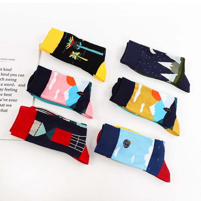2019 New Products Spring Summer Style Creative Cotton Socks Men Cartoon Pattern Fashion Casual Men S