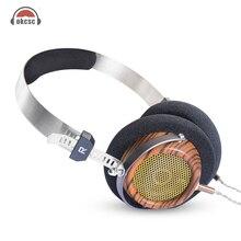 Okcsc m2 57mm alto-falante semi-open-back fones de ouvido de madeira de azeitona de alta fidelidade com 5n occ banhado a prata diy 3.5mm cabo de substituição vintage