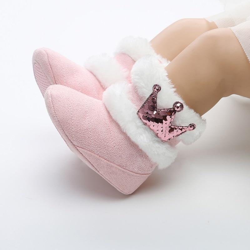 0-18M Newborn Infant Baby Girls Winter Warm Crown Fur Mid-Calf Length Slip-On Furry Boots