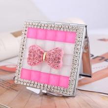 Miroir de poche compact et beau   mini miroir de maquillage beauté, souvenir de cadeaux de demoiselle dhonneur de fille, nœud papillon en strass de cristal scintillant