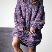 HAMALIEL Runway Women Loose Knitted Plus Size Dress Designer Winter Violet Hemp Flowers Thicked Wool Sweater Dress Warm Vestidos