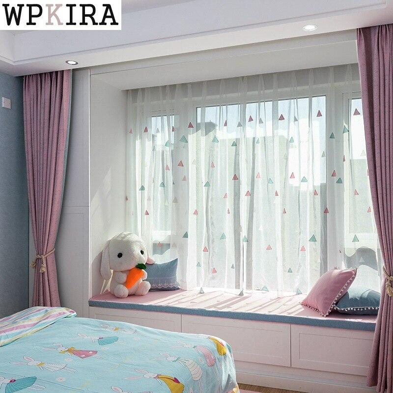Cortina bordada moderna para sala de estar, balcón, Cortinas de cocina de tul, telas transparentes rosadas, Cortinas S038 y 30