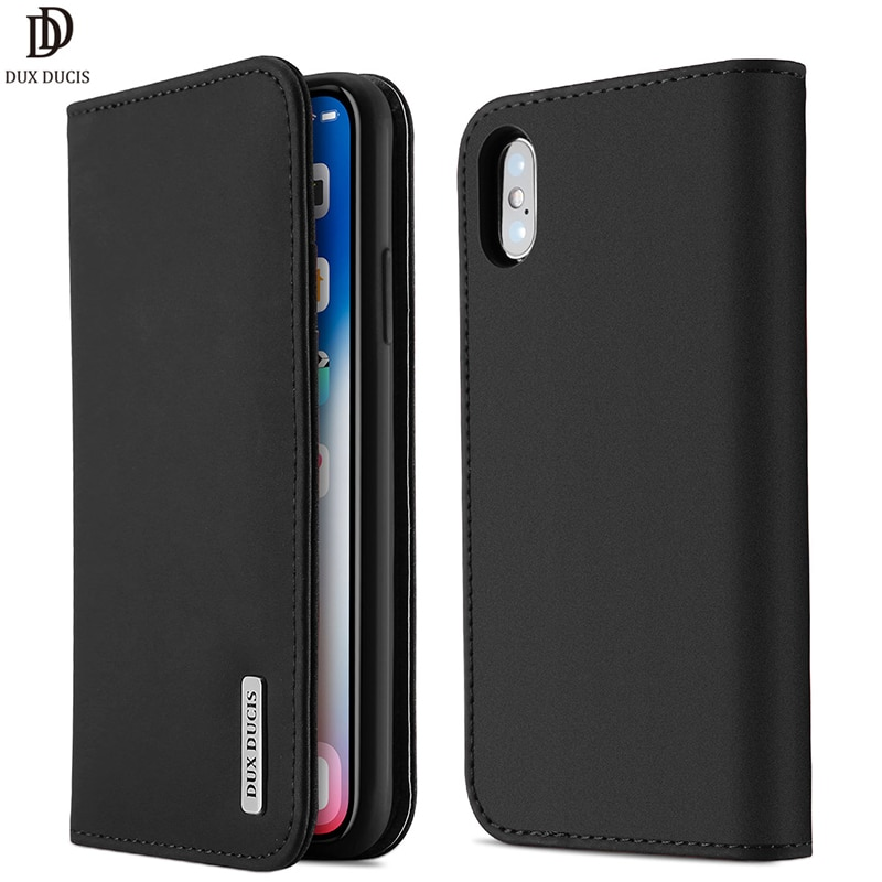 DUX DUCIS Funda de cuero genuino para iPhone X Xs inteligente cuero cartera Flip teléfono cubierta para iPhone Xs Max XR 8 7 6 6s plus iPhoneXs