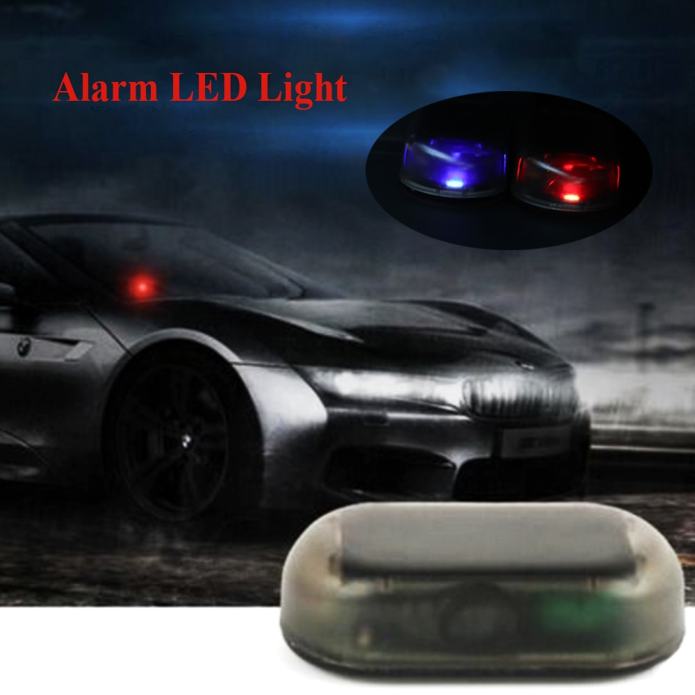 JEAZEA 1 Uds LED rojo azul falso energía Solar USB coche alarma sistema de seguridad advertencia robo Flash parpadeo antirrobo Luz