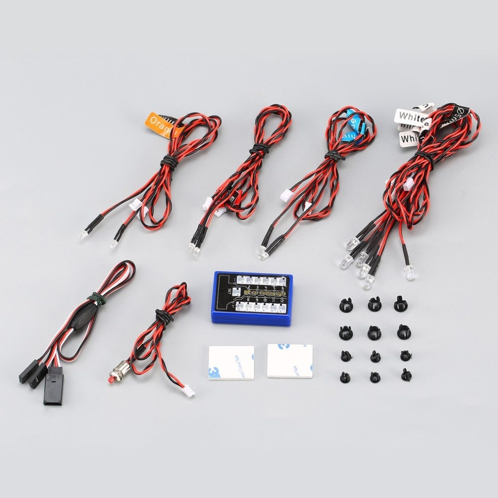 12 Sistema de Kit de lámparas estroboscópicas de luz brillante intermitente Ultra LED para 1/10 1/8 RC Drift HSP TAMIYA CC01 4WD Axial SCX10 RC coche camión