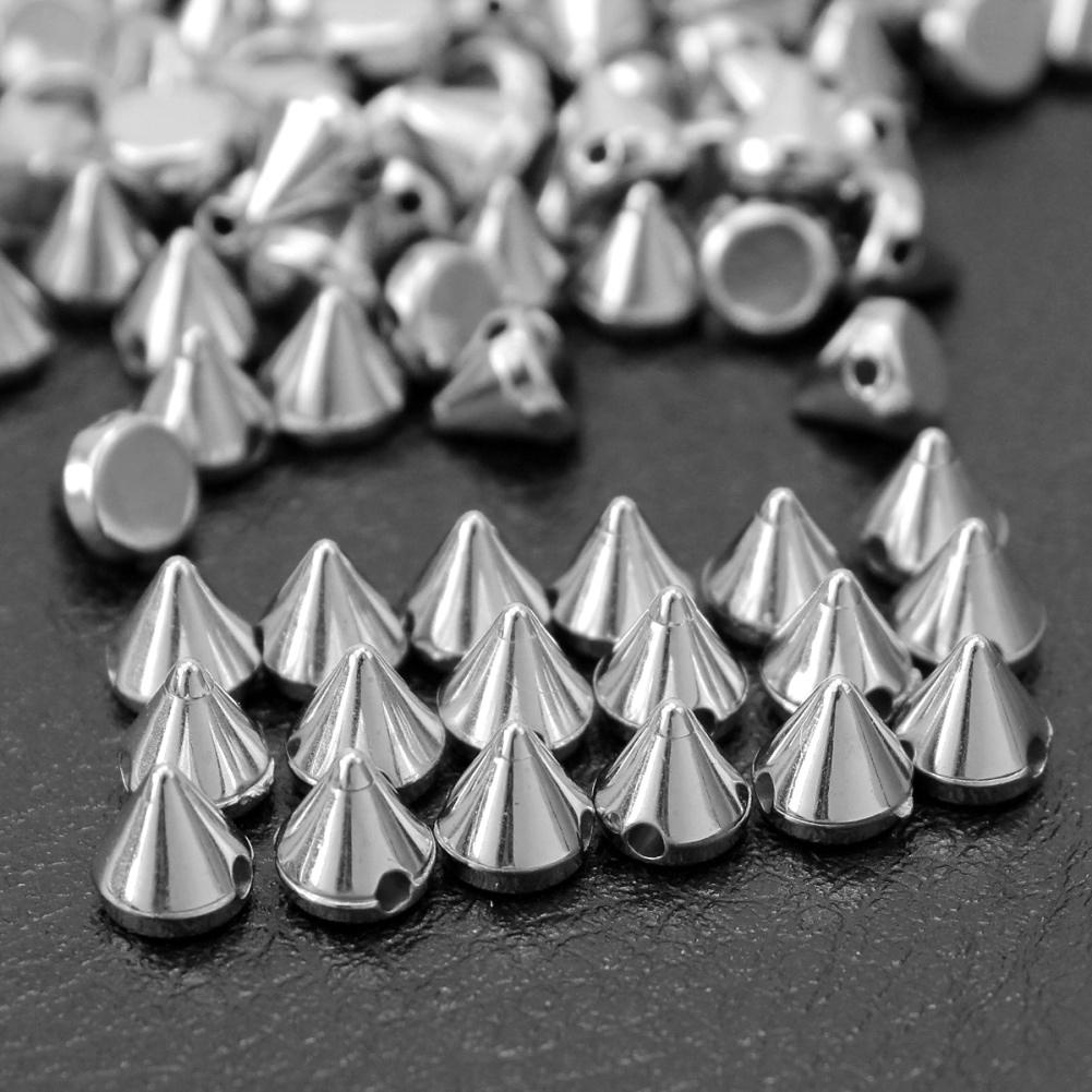 100 Pcs Silver Rivet Studs Punk Rock DIY Leathercraft Jewelry Bracelet Accessory Sewing Spike Bag Apparel Decoration ABS Plastic