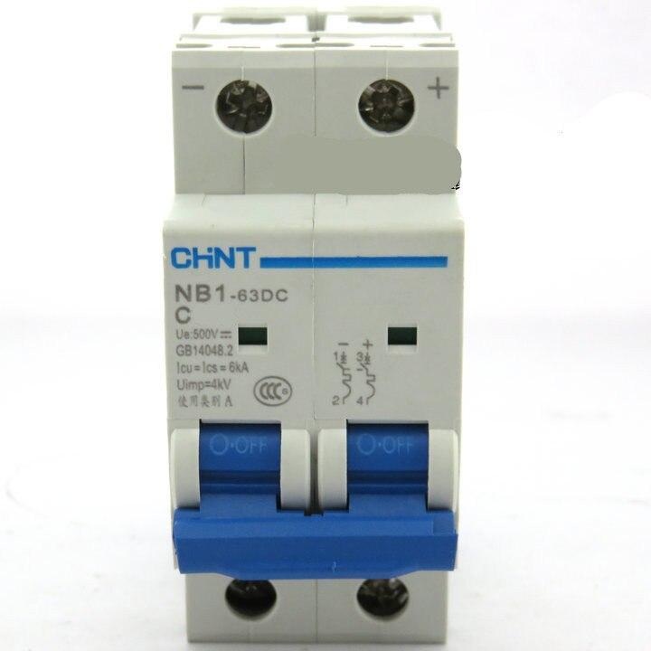 Disyuntor DC500V 2 polos 40Amp 6KA CHNT NB1-63 DC MCB para solar fotovoltaica