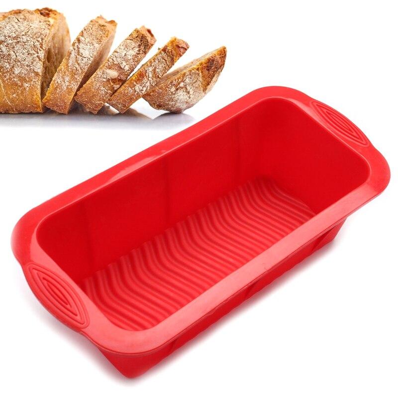 Rectángulo molde de hornear no-Stick molde de pastel de silicona gran brindis recipiente para rebanada de pan moldes para pasteles muffin cocina herramientas de silicona para repostería