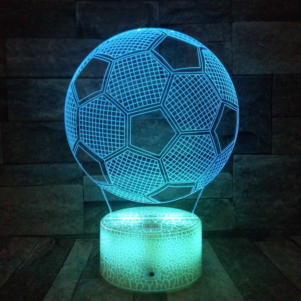 3D fútbol lámpara ilusión óptica luz de noche para habitación decoración vivero bien regalos de cumpleaños 7 cambio de Color niño y regalo de la muchacha de