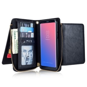 New 2 in 1 Multi-functional case For Samsung galaxy S9 Plus Megnetic Detachable Zipper Wallet Flip Leather Cover For S9