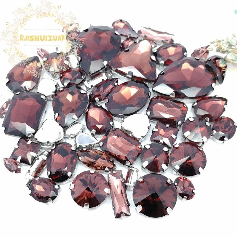 Набор из 58 шт., 10 форм, 25 разных размеров, винно-Красная форма и размеры, стеклянные стразы с серебристым низом, аксессуары для одежды «сделай ...