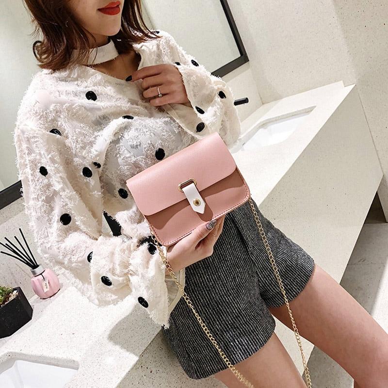 Hot Selling Women Crossbody Single Shoulder Bag Retro PU Leather Buckle Small Rectangle Handbag -B5