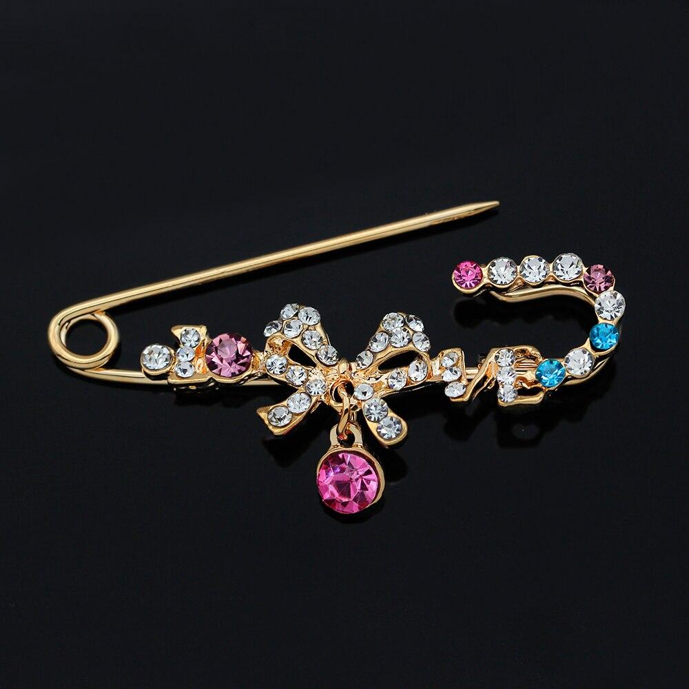 12 style élégant strass broches AB cristal couleur or broches de mariage broches en forme darc Vintage broches pour femmes