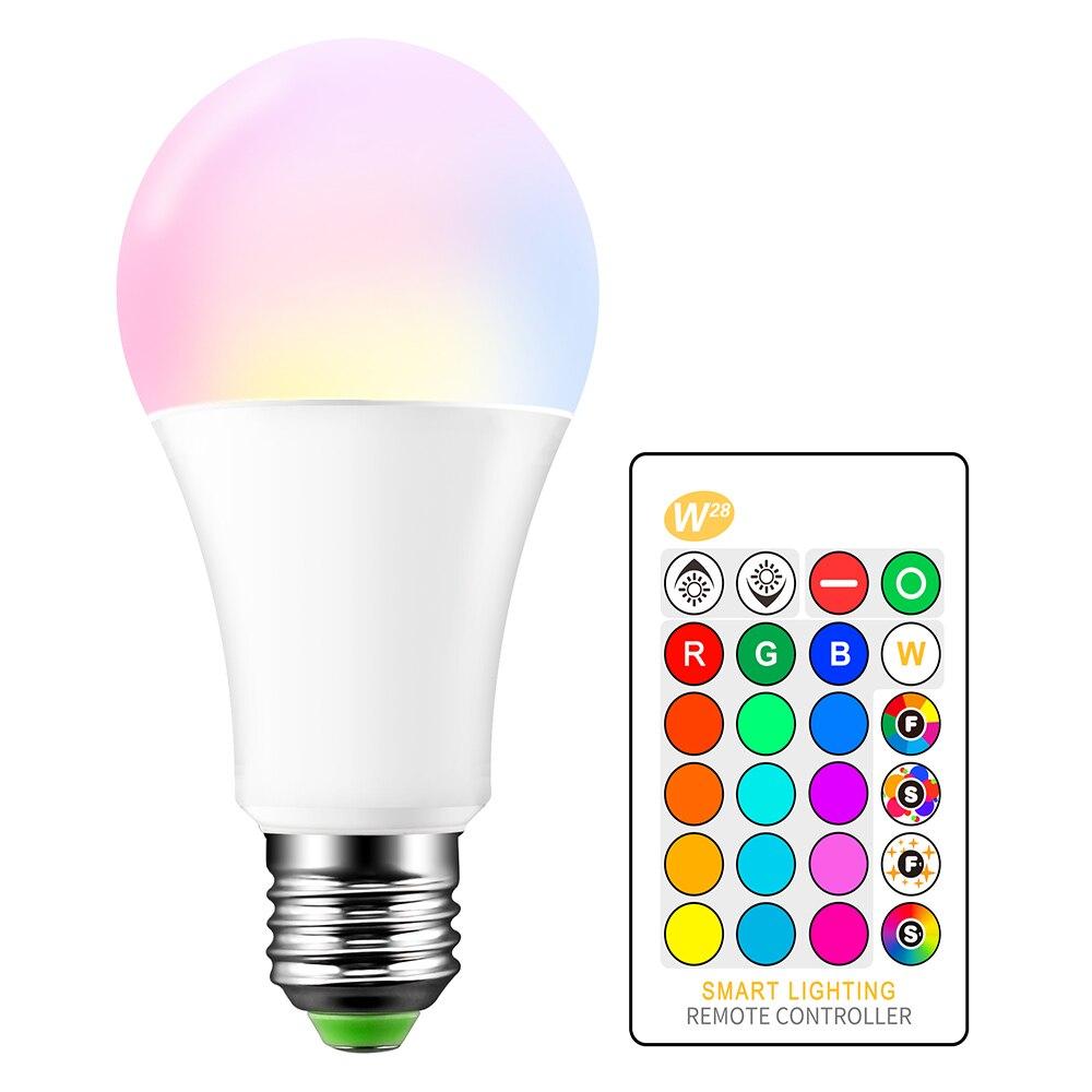 Alta calidad E27 15W RGB LED 16 colores que cambian la luz de la vela bombilla de foco AC85-265V + 24 teclas de Control remoto IR