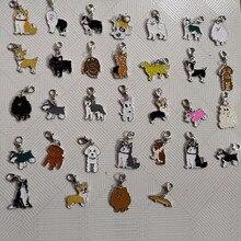25MM DIY Enamel pet collar jewelry wholesale, Yorkshire dog charm pendant Corgi Shetland Sheepdog Shepherd Chihuahua French Bull