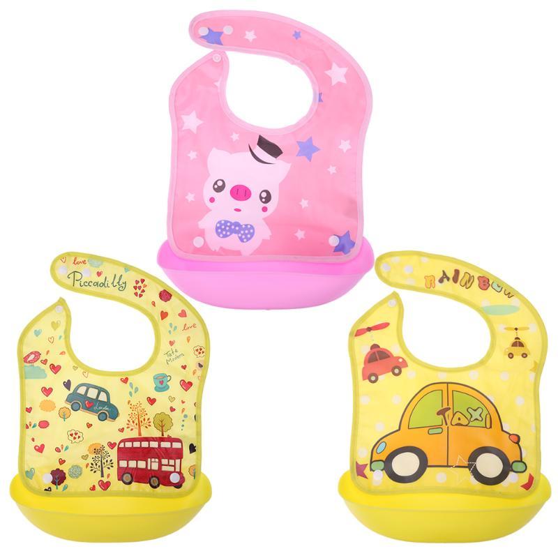 Removable Baby Bibs Imitation Silicone Waterproof Aprons Baby Bib Bandana Cartoon Feeding Rice Bibs Baby Saliva Towel Baby Feed