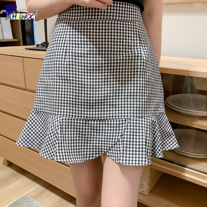 Summer Mini Skirts Woman Fashion Hot Cute Sweet Preppy Style Girls Date Wear Black White Plaid Skirt High Waist Ruffled 5029