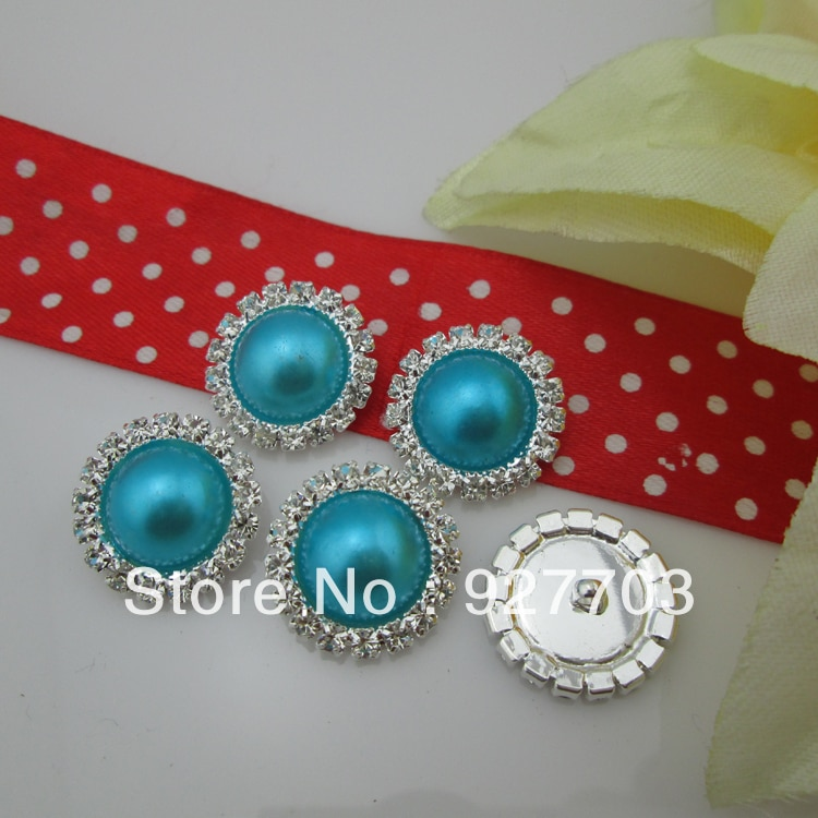 (CM533 17mm) Wholesale 100 X Round Clear Rhinestone Crystal Dark Sky Blue Pearl Silver Tone Shank Button Sewing Craft