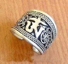 Livraison gratuite>> nouvel anneau de pouce Mantra en argent tibétain Tibet un mot A033