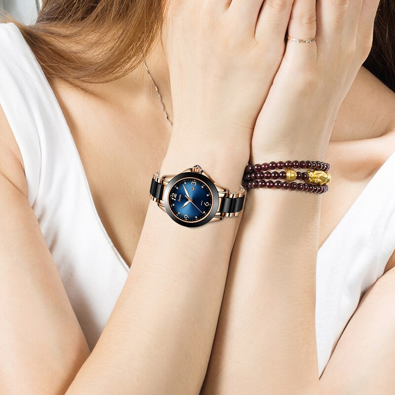 SUNKTA Fashion Ladies Watches Women Top Brand Luxury Ceramic Rhinestone Sport Quartz Watch Women Blue Waterproof Bracelet Watch enlarge
