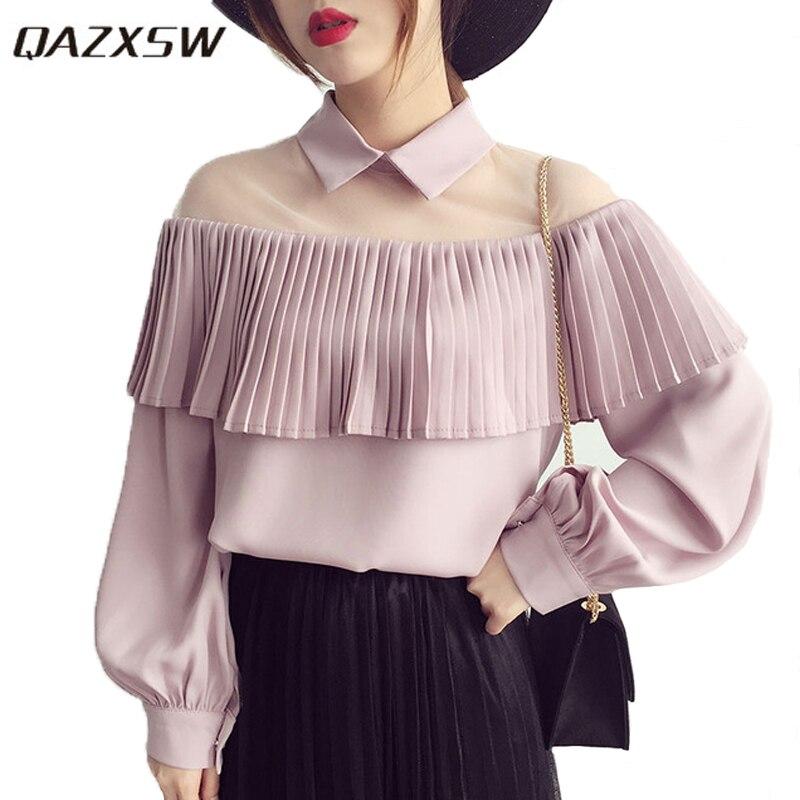 Blusa de chifón QAZXSW de primavera con parche de malla transparente, blusa sexi con dobladillo plisado para mujer, Tops Chemise Chemisier YX2068