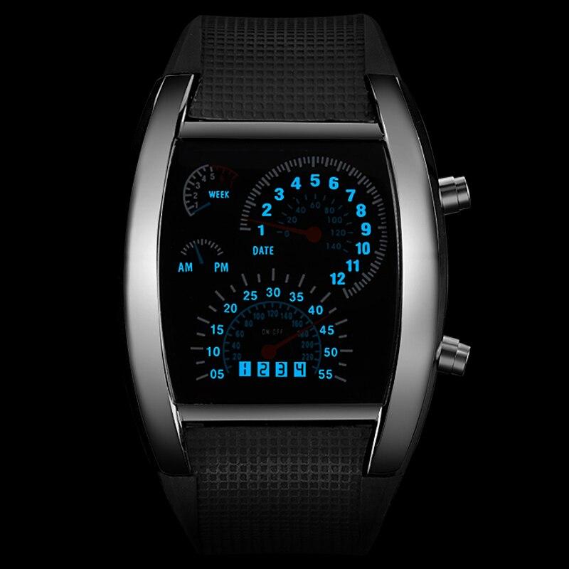Reloj electrónico a la moda para hombre, reloj Digital creativo, reloj deportivo LED para hombre, correa de goma, reloj digital para hombre