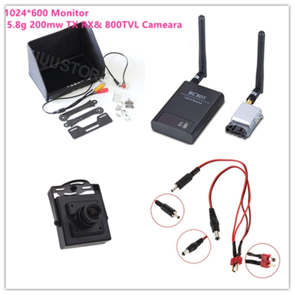Combo FPV sistema 5,8G 200mw Tx TS351 y Rx RC805 1024*600 pantalla TFT monitor FPV + 700TVL HD Cámara Sistema FPV Combo