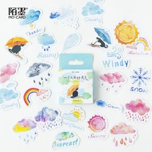 45pcs/pack Lovely Weather Decorative Adhesive Sticker Tape Kids Diy Craft Scrapbooking Sticker Set For Diary, Album