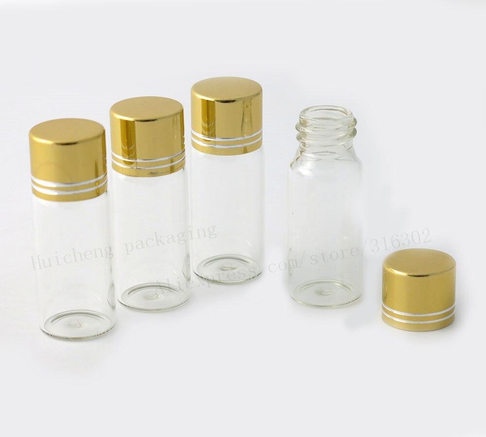 Mini botella de vidrio transparente 12 ml, frasco de aluminio dorado con rosca, envase tapa, Vial de borosilicato vacío 500 Uds
