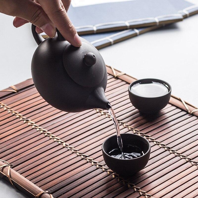 Teteras auténticas Yixing kungfú chino, tetera pequeña de arcilla púrpura, juego de teteras, envío directo