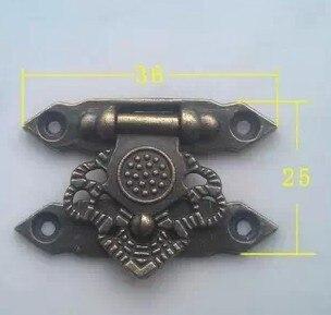 20 قطع أثرية براس مجوهرات مربع غلق بمشبك قفل قفل 36x25 ملليمتر مع مسامير