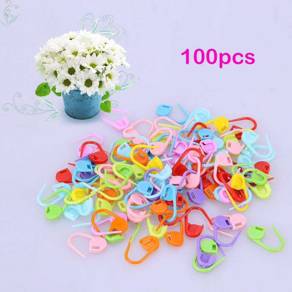 Зажимы пластиковые разноцветные для стежков при вязании, 100 шт.