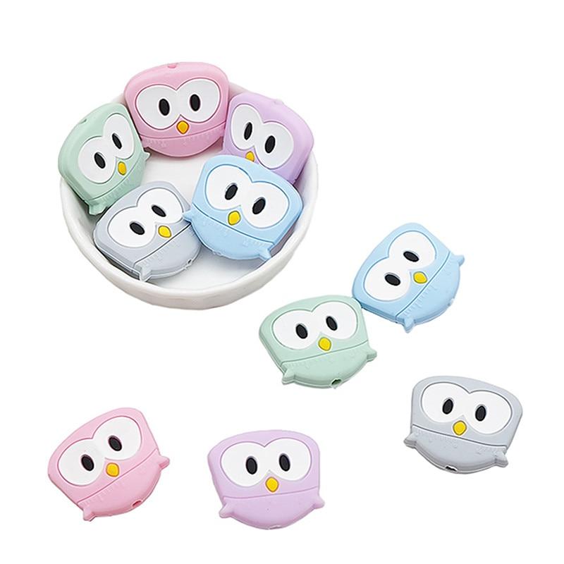Chengkai 50 Uds. Búho de silicona pájaro mordedor cuenta DIY bebé Mini Animal dentición Montessori juguete sensorial joyería para chupete hacer cuentas