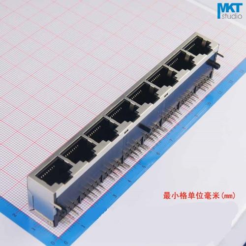 20Pcs 1x8 Ports 59 Series Female RJ45 Ethernet Network LAN PCB Socket Connector Jack