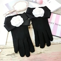 fashion winter white camellia bow gloves women solid black cashmere touch screen mittens finger thickening warm