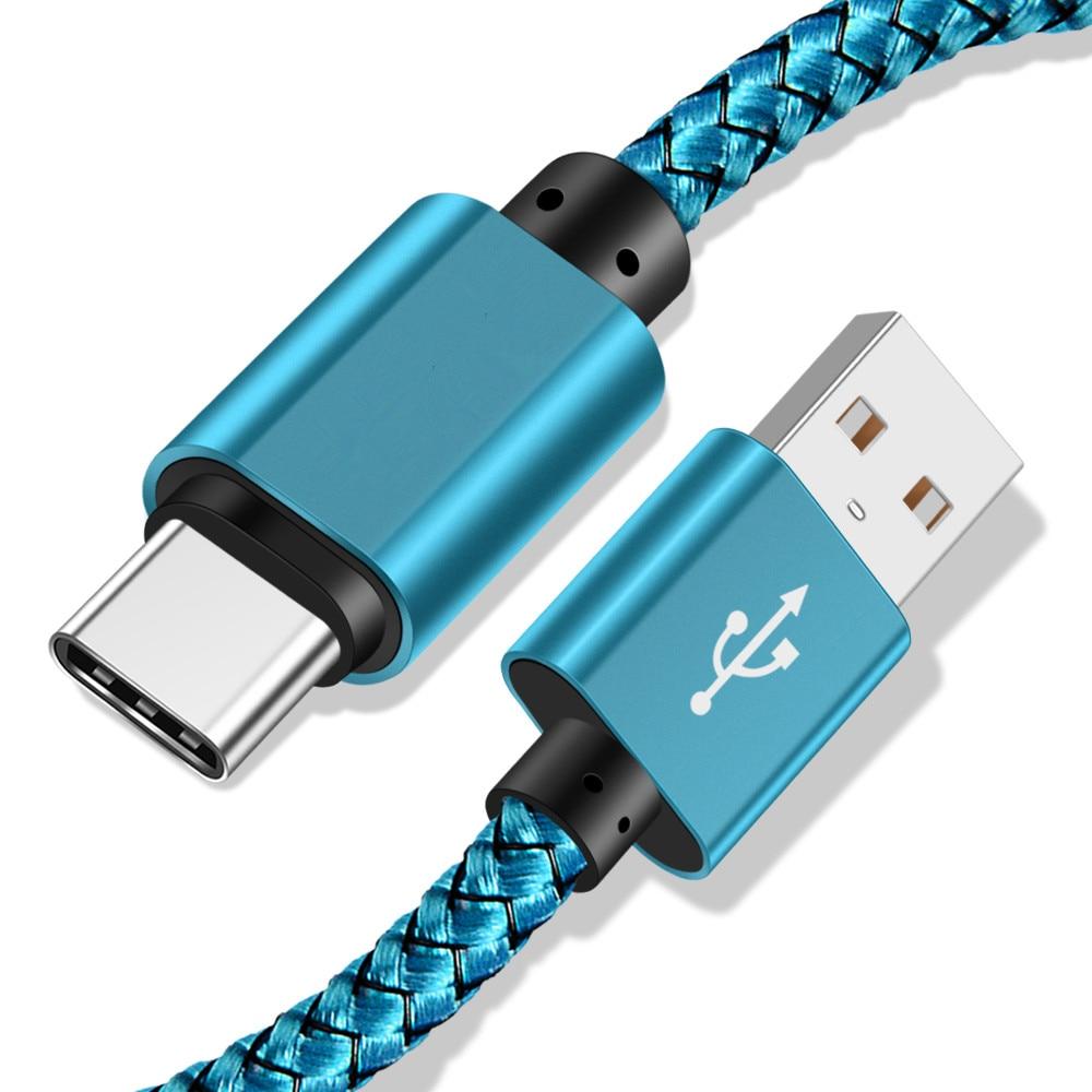 Cable USB tipo C para Samsung S10 S9 Xiaomi Mi 9, Cable cargador de datos y teléfono, Cable tipo-c, Cable de USB-C para Huawei P30 20