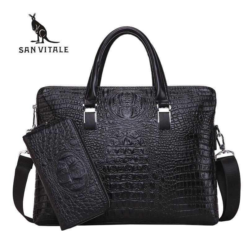 San vitale bolsas masculinas crocodilo totes masculino saco de couro do plutônio casual maleta ombro negócios para o mensageiro computador portátil