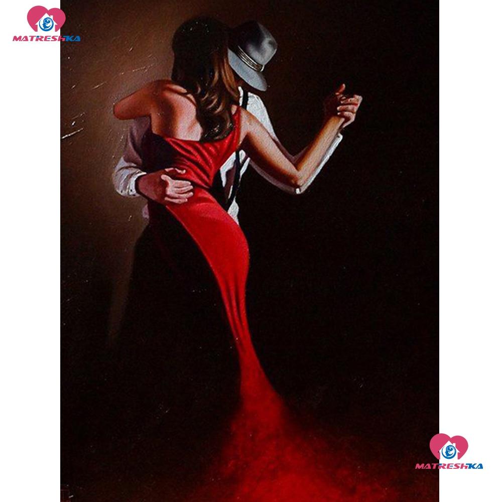 Diy 5d pintura de diamante cuadrado completo/imagen de Perforación redonda de diamante de imitación amante de baile accesorios de bordado de cuentas mosaico de diamantes