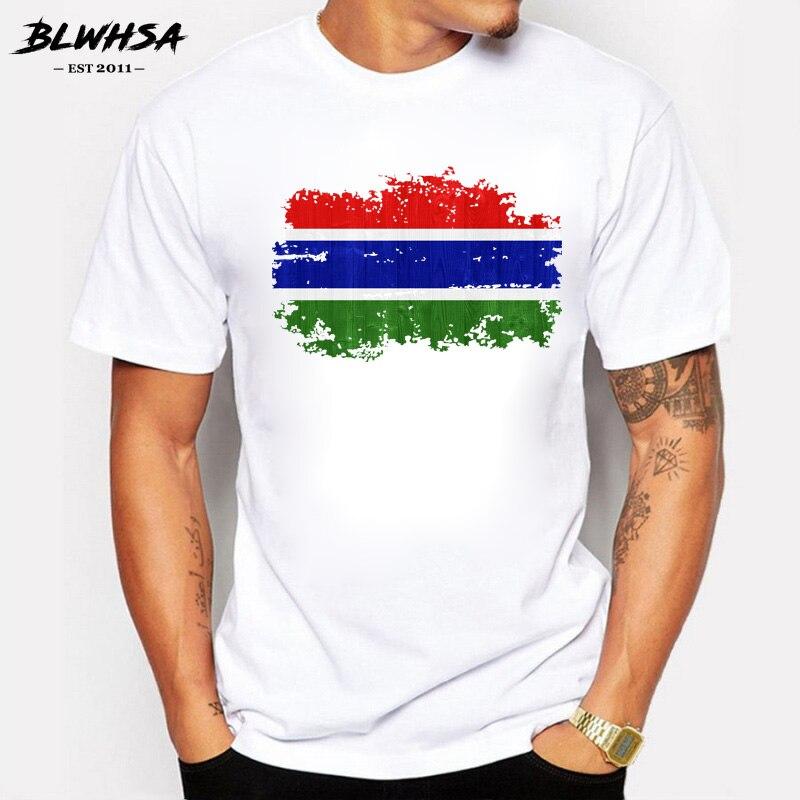 Camiseta BLWHSA de verano para hombre, Camiseta de algodón para hombre, Camiseta deportiva para hombre, camiseta de estilo nostálgico con bandera nacional de Gambia, ropa