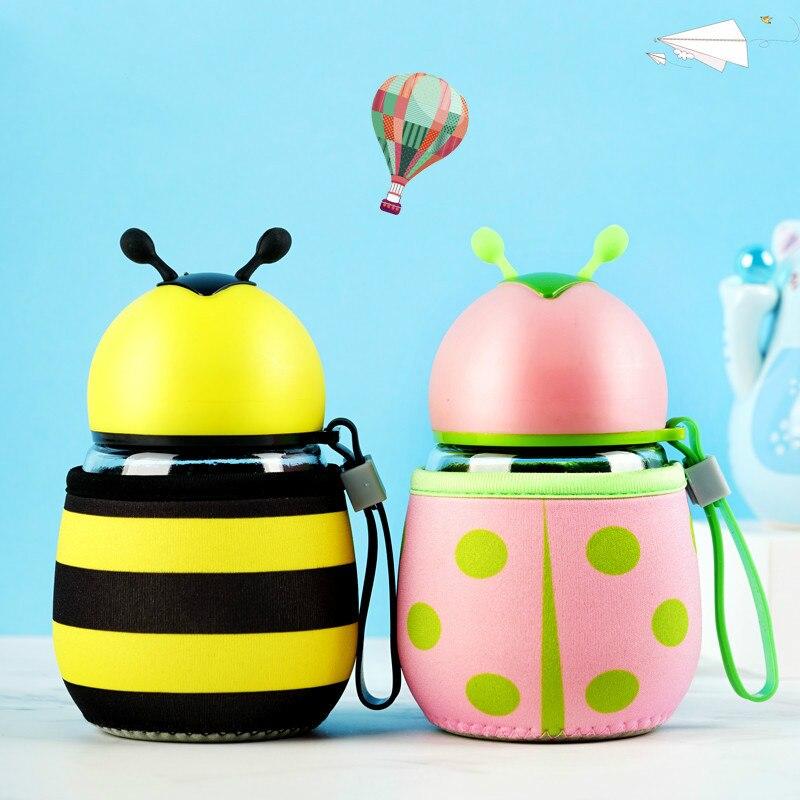 300ml Creative Cartoon Bee Ladybird botella de agua a prueba de fugas niños jugo botella aislada encantadora botella de agua de vidrio