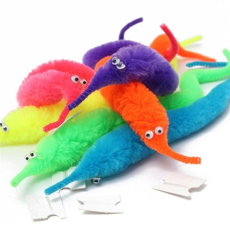 5pc Magic Twisty Fuzzy Worm Wiggle Moving Magic Tricks Kids Close-up Street Magic Tricks Toys Sea Horse Surprise Trick Toy TXTB1
