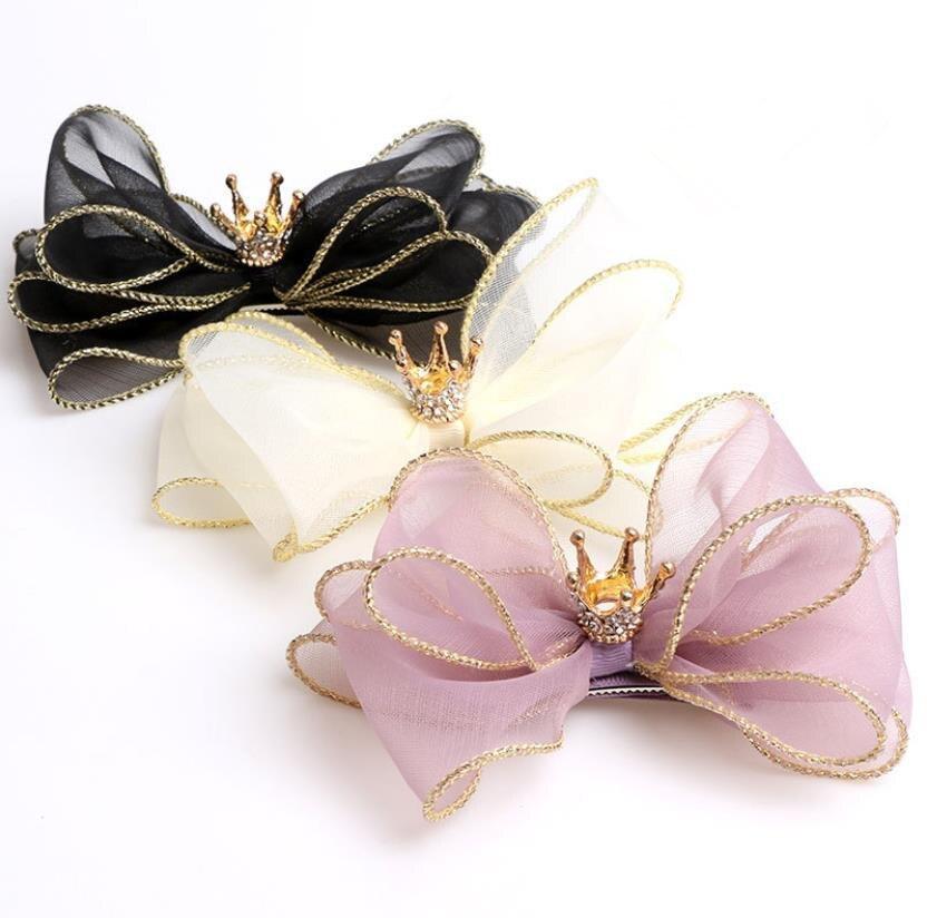 Nuevo-dimensional lazos para el cabello de organza accesorios para el cabello de princesa Clips chicas pelo flor adornos de pelo corona borde horquilla J45
