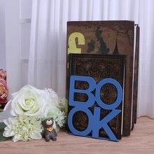 2pcs/pair BOOK Alphabet Shaped Metal Bookends Metal Mesh Desk Organizer Desktop Office Home Book Holder Bookends