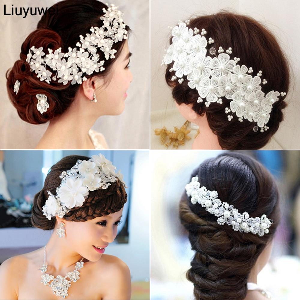 Модные свадебные аксессуары для волос, жемчужные резинки для волос для невесты, красные, белые кружевные кристаллические тиары, Цветочные Элегантные украшения для волос