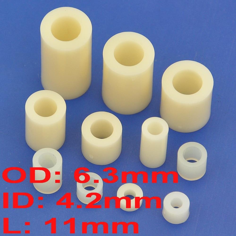 (1000 قطعة/الوحدة) 11 مللي متر النايلون فاصل مستديرة ، OD 6.3 مللي متر ، ID 4.2 مللي متر ، ل M4 المسمار.