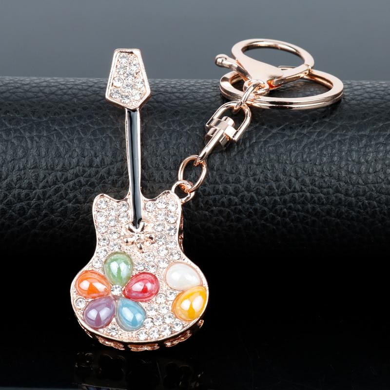 Diamantes de imitación de moda Mini llavero guitarra clave anillo de cristal lindo coche bolsa encanto lindo llavero de Gadgets para mujeres chica regalo llavero