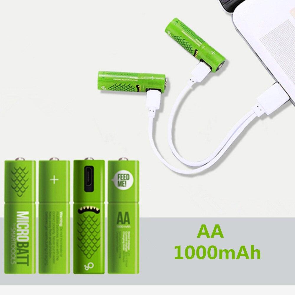 4 unids/lote nuevo 1,2 V AA batería recargable 1000mAh USB Ni-MH batería recargable con Cable de carga micro-usb