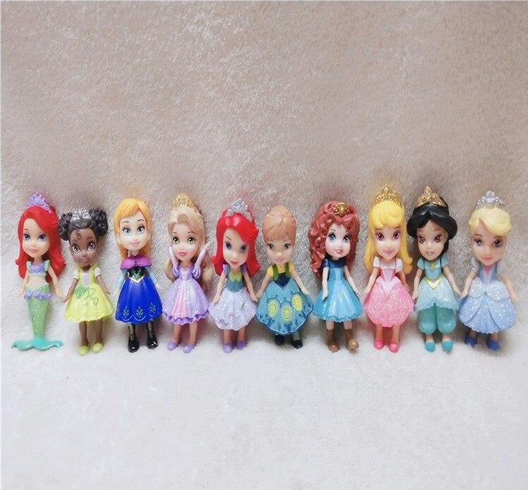 1pc/3pc princesa de Disney juguetes Q Posket Elsa Anna de acción   Pvc figuras de acción de nieve blanco Mérida muñecas para niños juguetes para niñas regalo