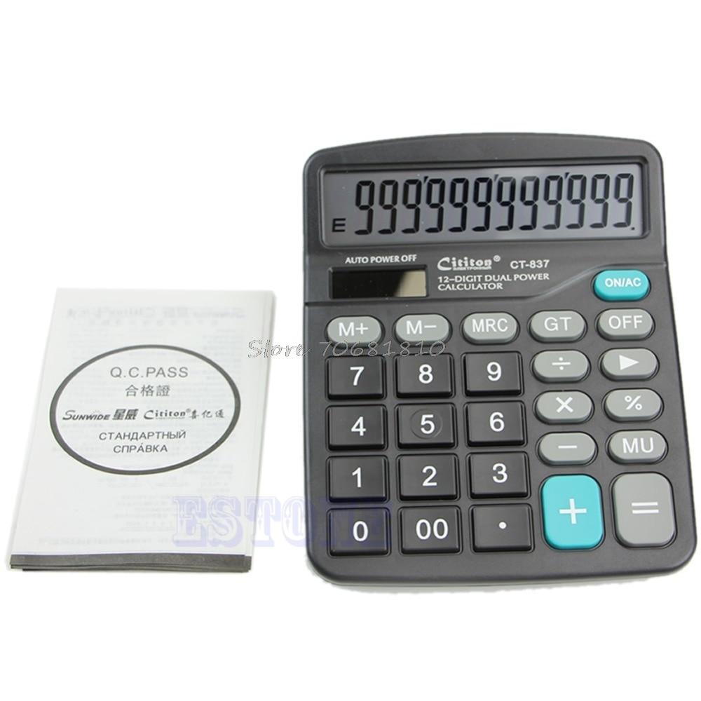 Grandes botones Doble potencia Solar y alimentado por batería escritorio Calculadora de dígitos de escritorio triangulación de envío